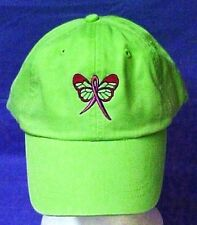 Pink Ribbon Butterfly Baseball Hat Breast Cancer Awareness Lime Green Cap New