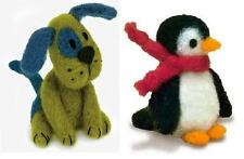 Lot of 2 Felted Character Needle Felting Kits  PUPPY DOG ~ PENGUIN