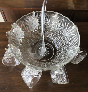 Vintage Crystal Glass Punch Bowl Set 18 Piece with cups, hooks, ladle And Box