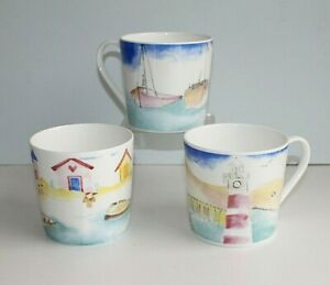 2 Mugs - Sailing Boat, Beach Hut or Lighthouse Design Bone China Mug 15 fl oz
