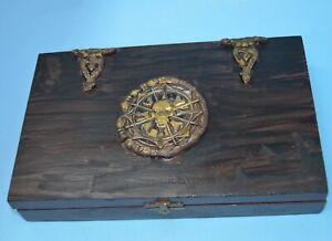 Pirate wood box upcycled cigar box altered art, stash box, Halloween