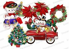 Vintage Image Retro Christmas Assortment Snowmen Tree Waterslide Decals CHR253
