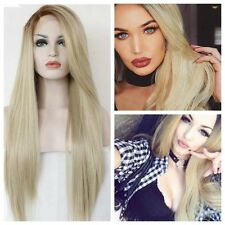 Fashion Nicki Minaj Style Long Central Part Platinum Brown Root Blonde root Wigs