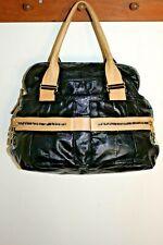 SEE BY CHLOE Purse Daytripper Satchel BLACK Patent & Tan Leather w Dust Bag