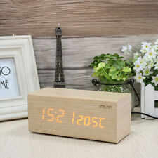 Baldr B0160 Wooden Alarm Clock LED Display Temperature Calendar Touch to Snooze
