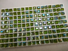 24 swarovski vintage cube shaped crystal beads,6mm olivine AB #5601  SPECIAL