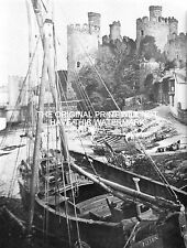 BOATS MOORED  CONWAY CASTLE (ABERCONWAY) 1801 NOSTALGIC HARDBACK PRINT ANCESTRY