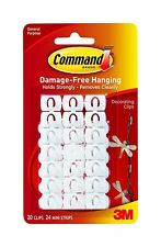 20 x 3M COMMAND SELF ADHESIVE WHITE DECORATING CLIPS HOOKS FOR CHRISTMAS LIGHTS