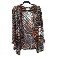 Chico's Open Front Sweater Shawl Jacket Animal Print Beaded Embelished Black 2