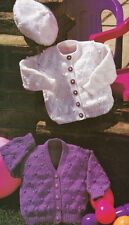 "1428 baby Girl DK Beret & Cardigans Vintage Knitting Pattern 16-22"""