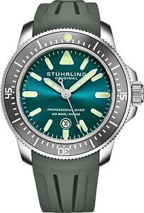 Stuhrling Men's Japan Quartz Turquoise Dial, Grey Rubber Strap Divers Watch