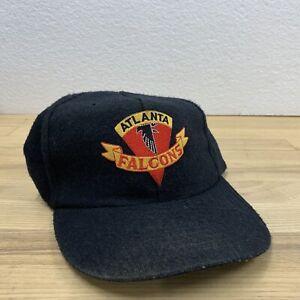Vintage Atlanta Falcons Spell out 100% Wool Snapback Hat Cap NFL Black Gold Logo