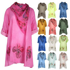 New Womens Ladies Lagenlook 3D Floral Italian Cotton Baggy Scarf Tunic Top
