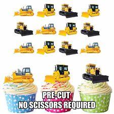 PRECUT JCB Construction Bulldozer 12 Edible Cupcake Toppers Decorations Birthday