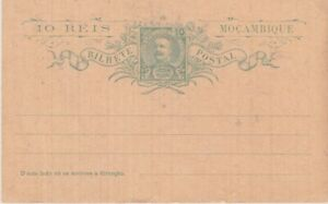 Mozambique-1903 Unused 10 reis green postal stationery postcard H&G 4 cover