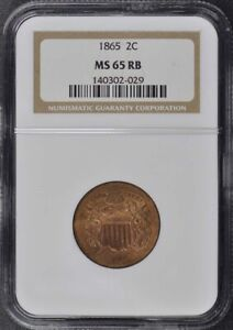1865 Two Cent Piece 2C NGC MS65RB