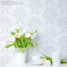Traditional Damask Pattern Wall STENCIL - repeat to create wallpaper DIY 10057
