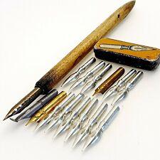 Vintage calligraphy dip ink nib pen IGY NIBS LOT tin box WOOD pen Hungary