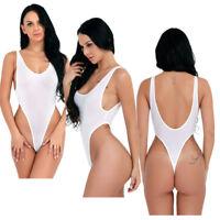 Women Sheer See-through Thong Bodysuit Leotard Top Lingerie One-Piece Swimwear