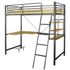 Metal Bunk Bed Melbourne Single Bunk Bed Study Computer Desk & Book Shelves