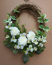 "21"" Creamy White Oval Floral Door Grapevine Wreath Handmade"