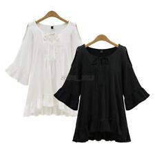 Women's Plus Size Loose Tops Blouse Ruffle Hem Sleeve Off Shoulder Tunic T-Shirt
