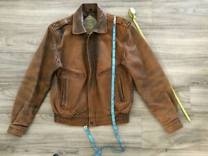 Men's classic vintage leather bomber jacket - brown - excellent condition