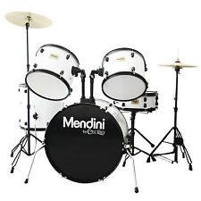 MENDINI WHITE 5 PIECE COMPLETE ADULT DRUM SET POPLAR SHELL W/ CYMBAL & HARDWARE