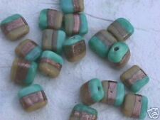 Green Aqua Tan Copper Stripe Flat Cube Beads 10mm 16pc