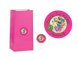 40 Shopkins 2 inch Stickers Party Bag Tags Favors Lollipop Personalize