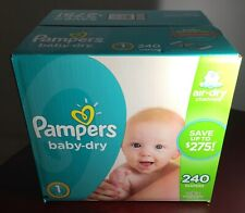 Box of Pampers Baby-Dry   240 Diapers   Size: 1 (8 - 14 lb)