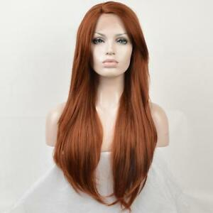 Natural Womens Long Straight Auburn Red Orange Bangs Lace Front Full Hair Wig