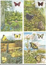 SWEDEN Scott# 2020-2023 Butterflies 1993 Slania Cards Maximum (4)
