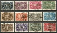 Germany Weimar Rep 1922 Used Defins Inflation Number Oval Mi-246-257 SG-235-246