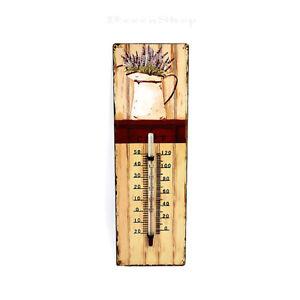 Thermometer mit Lavendelmotiv 8x25cm Eisen rustikal Vintage antik Landhaus