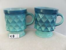 Anchor Hocking Fire King 2 Kimberly Light Dark Blue Coffee Mugs               48