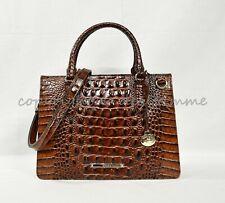 Brahmin Pecan Melbourne Croco Leather Camille SM Satchel Purse