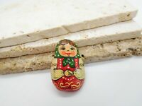 Vintage Lacquered Russian Nesting Doll Brooch Pin LL1