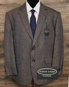 NWT Pronto Uomo Platinum Men's Gray Wool Blend Blazer Sport Coat Jacket 48S NEW
