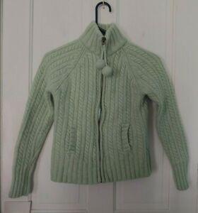 Gap size medium, mint green 100% Lamb's Wool, full zip, collared sweater