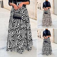 Women's Printed High Waist Swing Long Skirt Beach Party Jersey Maxi Dress Plus