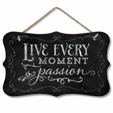 Retro Wooden Black Chalkboard Sign Wall Plaque LIVE EVERY MOMENT WITH PASSION