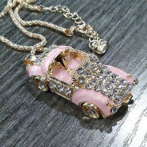 Eclectic Whimsical PINK CADILLAC CONVERTIBLE Crystal Rhinestone Pendant Necklace