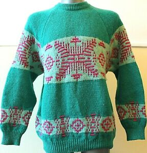 Women´s BENETTON 80´S Vintage Sweater Nordic Winter PURE WOOL Jumper Size  L