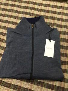 NEW PAUL SMITH 100% MERINO WOOL BLUE  Full Zip FUNNEL NECK Cardigan SIZE L