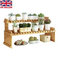 More details for wooden plant flower pot display stand shelves outdoor indoor storage rack 2 tier