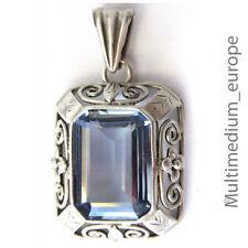 Art Deco Anhänger Silber 835 blauer Spinell nach Verneuil um 1930,