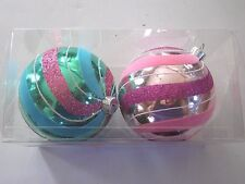 2 Pink & Blue Striped Flocked 3.5 Inch Shatter Resistant Ornament Christmas