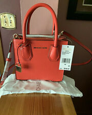 Michael Kors XS Mercer Leather Accordion Messenger Bag In (Sea Coral) Msrp $248.
