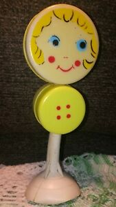 Vintage Baby Rattle Face Yellow  Suction Cup Base